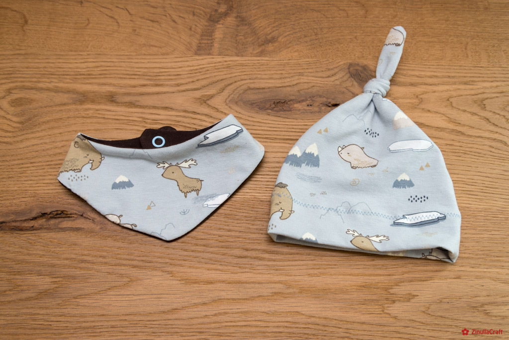 Set: Knotenmütze und Halstuch für Newborn